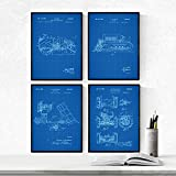 Nacnic Azul - Pack de 4 Láminas con Patentes de Camiones. Set de Posters con inventos y Patentes Ant...