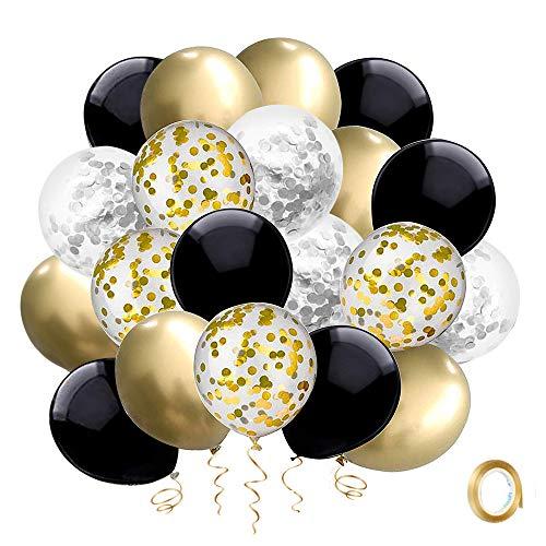 Globos de Cumpleaños Dorados Negros Plateado Globo Helio SKYIOL Confeti Metalizados Látex Globos 50 pz 30cm con Cinta Dorada para Niñas Niños Bautizo Baby Shower Boda Aniversario Fiesta Decoración