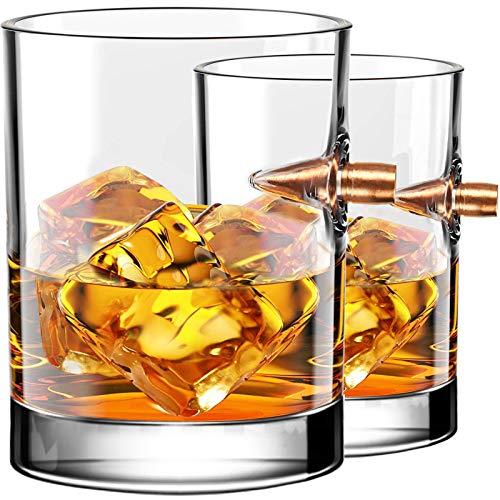 Kollea Whisky Gläser 2er Set, Whiskey Gläser mit Realem Geschoß Cal.308, Old Fashioned Handgeblasen Whiskygläser, Kristallglas Geschenkidee für Männer für Whisky, Scotch, Bourbon - 300 ML