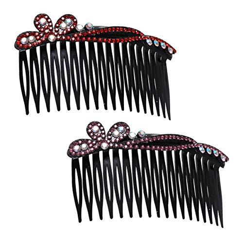 Beaupretty Pettine per capelli con strass,2 pezzi Plastica pettini per capelli in plastica antiscivolo per donna