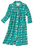 AmeriMark Women's Soft Flannel Duster House Coat w/ Patch Pockets & Soft Collar Jade MD