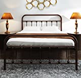 Metal Bed Frame Full Size with Headboard and Stable Metal Slats Boxspring Replacement/Footboard Single Platform Mattress Base,Metal Tube and Rustic Brown Baking Paint