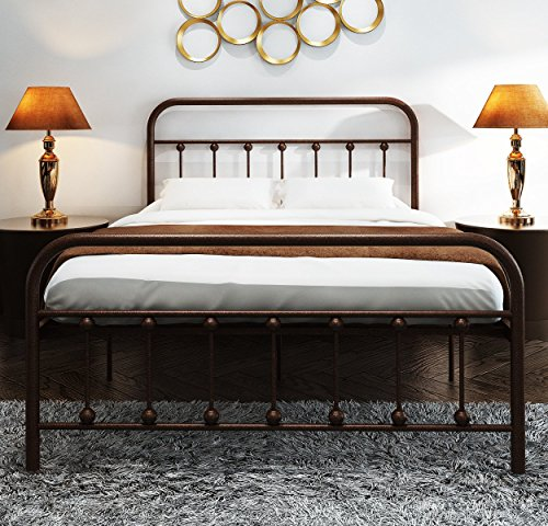 TEMMER Reinforced Metal Bed Frame Twin Size with Headboard and Stable Metal Slats Boxspring Replacement/Footboard Single Platform Mattress Base,Metal Tube and Antique Brown Baking Paint.