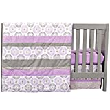 Florence Purple and Grey Geometric Medallion 4 Piece Baby Girl Crib Bedding Set
