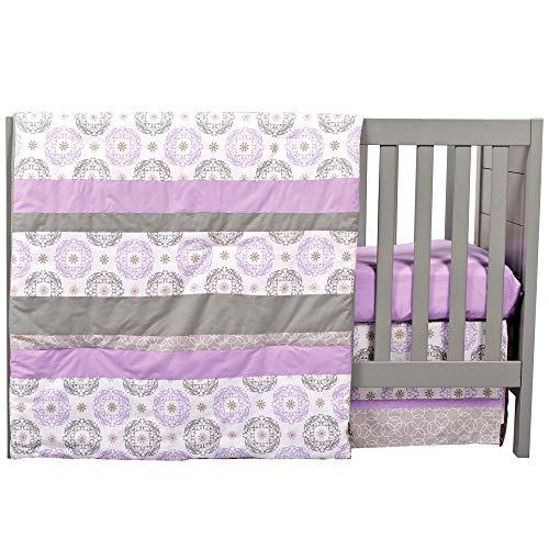 Florence Purple and Grey Geometric Medallion 3 Piece Baby Girl Crib Bedding Set