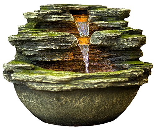 Harmony Fountains 18' Multnomah Waterfall Rock Fountain w/LED Lights: Stunning Outdoor Water Feature for Gardens & Patios. Hand-Crafted Design. Adjustable Pump. HF-R24-18