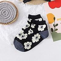 春と夏の新しいファッション女性の靴下スタイルの花柄プリントソックススタイルのショートソックス Rebirtha (Color : 499001, Size : One Size)