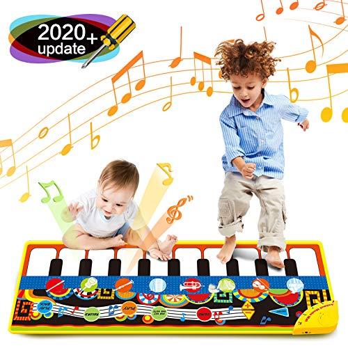 Bieyaaso Musical Piano Mat 19 Keys Piano Keyboard Play Mat Kids Early Education Music Toys Music Mat Build-in Speaker & Recording Music Dance Mat Surprised Gift for Girls & Boys 43.3'' X14.2''