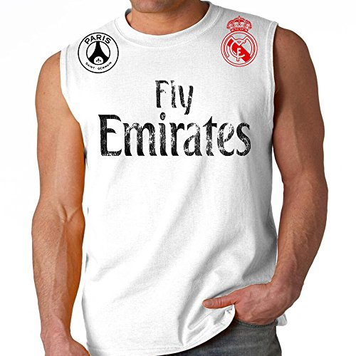 Fly Emirates Paris Real Madrid Adult Sleeveless World Cup Soccer Muscle Shirt (Medium, White/Black Red Logo)
