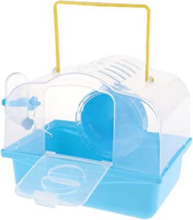 Bärbar djurbärare hamster bärväska bur med vattenflaska resa utomhus för små djur (blå)