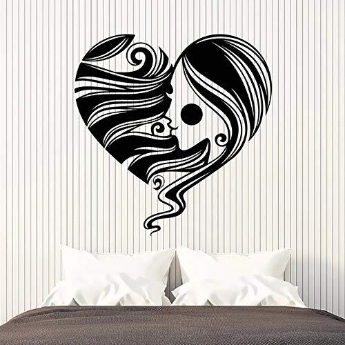 YuanMinglu Símbolo del corazón Pegatina de Pared Chica romántica Cara Peinado salón Dormitorio Art Deco Mural Negro 42x42cm
