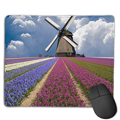 Teesofun Unique Mouse Pad Windmill Beauty Scenery Illustration Rectangle Rubber Mousepad 8.66 X 7.09 Inch Non-Slip Gaming Mouse Pad