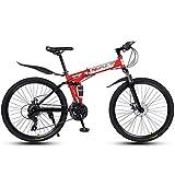 Bicicleta De Montaña De 26'Y 21 Velocidades para Adultos, Cuadro Ligero con Suspensión Completa, Horquilla De Suspensión, Freno De Disco