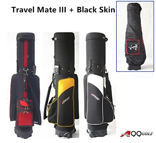 A99Golf Travel Mate III with Skin Wheeled Cover W. TSA Lock Air Porter Golf Travel Bag cart Bag (Black/Gold)