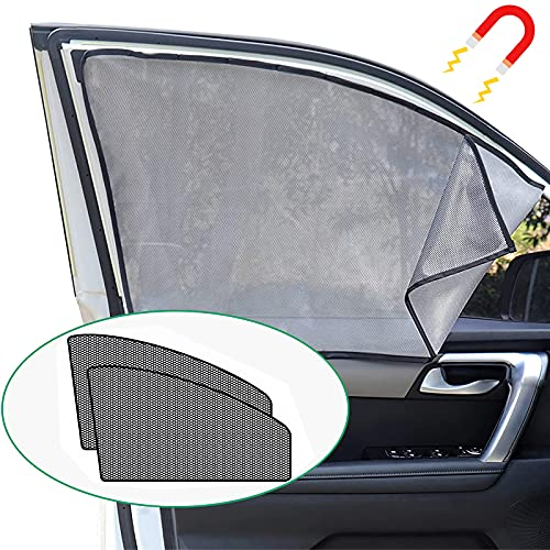 isimsus Sonnenschutz Auto Vorhang 1 Paar, Magnetisch Sonnenschirm Seitenscheibe Sonnenschutz Auto Baby Fenster Verdunkelung Reflektierend Mesh für [UV-Schutz] [Hitzeschutz], 2 PCS [Fahren + Co-Pilot]