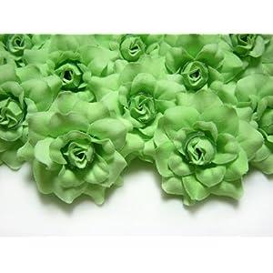 (24) Silk Light Green Roses Flower Head – 1.75″ – Artificial Flowers Heads Fabric Floral Supplies Wholesale Lot for Wedding Flowers Accessories Make Bridal Hair Clips Headbands Dress