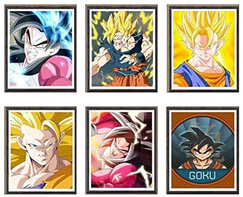 YEAHTOPE Super Saiyan SSJ Goku Dragon Ball Ilustración digital anime lienzo impresiones artísticas para decoración de pared, 8 x 10 pulgadas, sin marco, juego de 6