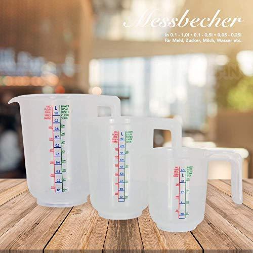 dealfin 3-Teiliges Messbecher Set mit Liter-Anzeige und Gramm-Anzeige für Mehl & Zucker aus Kunststoff mit abgerundetem Griff