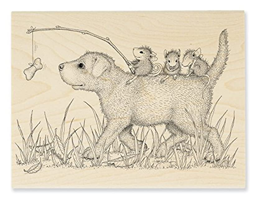 Stampendous HMR117 House Mouse Wood Stamp, Dog Ride