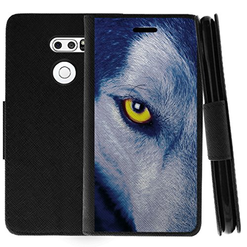TurtleArmor   Compatible with LG V30 Case   LG V30+ Case   LG V30 Plus Case   Flip Book Leather Wallet Case Stand Cover with Card Slots Animal - Wolf Eye