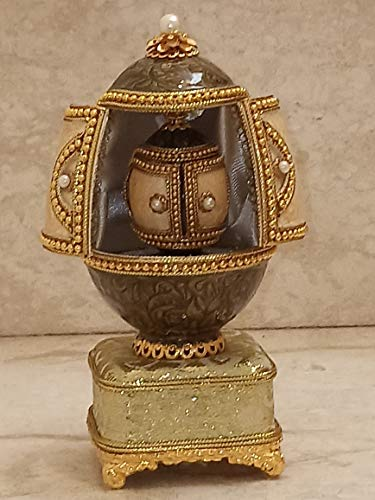 La Crown Regal Collection Huevo de Ganso Musical auténtico de Fabergé, Caja de joyería de Fabergé, Caja de Anillos de proposición Hecha a Mano con Perlas de imitación grabadas con Oro de 22 Quilates