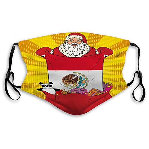 Mask Masks for Kids Teens Men Women Santa Claus gets National Flag Mexico Out Bag to Half Mask with 10 filters