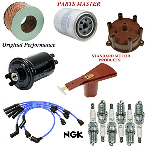 8USAUTO Tune Up Kit Air Oil Fuel Filters Cap Rotor Wire Spark Plugs FIT Toyota Land Cruiser L6 4.0L; from 2/90 1990-1992