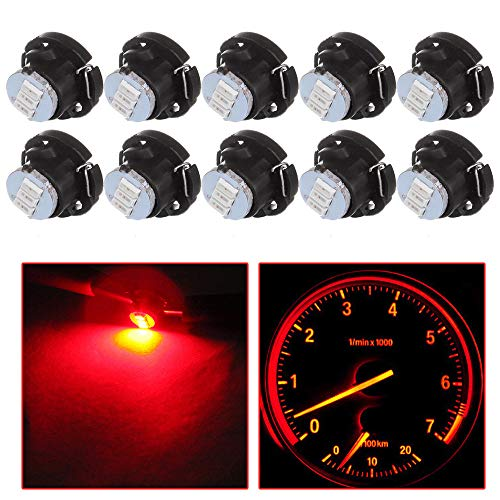 Price comparison product image cciyu Red T5 / T4.7 Neo Wedge 3 SMD A / C Climate Control LED Light Bulbs Instrument Panel Indicator Lamp, 10 Pack