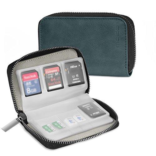MoKo Speicherkarten Tasche - PU Leder SD Case Aufbewahrung Tragetasche Box Etui, 22 Speicherkarten (8 Seiten) Kompatibel mit SD CF SDHC SDXC MMC TF Nintendo Switch Spiele, Blau