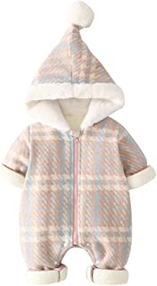 Xifamniy Infant Unisex Baby Long Sleeve Romper Cotton Striped Hooded Zipper Jumpsuit
