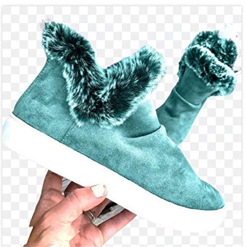 Botas de Invierno para Mujer Botas de Nieve Botas de Plataforma Botines cálidos Botines Planos de Mujer con Forro de Piel de Felpa Botas Cortas,Verde,43 EU