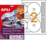 Apli 118947Pochette de 20etiquetas Photo Glossy CD/DVD A4117mm Diámetro