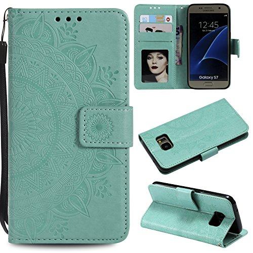 Trugox Samsung Galaxy S7 / G930 Hülle Leder Totemblume, Schutzhülle Brieftasche mit Kartenfach Klappbar Magnetverschluss Stoßfest Kratzfest Handyhülle Case für Samsung Galaxy S7 - LOHHA10613 Grün