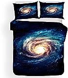 Lvvsovs 3D lecho de Imprimir Duvet Cover Set 150 x 200 cm bedcloth con la Funda de Almohada Juego de Cama Textiles for el hogar Individual Doble Rey Queen Size Galaxia Espacio Agujero Negro Ciencia