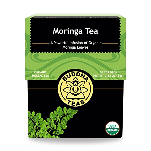 Organic Moringa Tea – 18 Bleach-Free Tea Bags – Caffeine-Free, Great Source of Vitamins, Antioxidants and Flavonoids, Chemical-Free Herbal Tea with no GMOs, Kosher