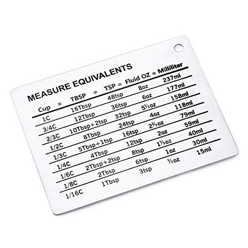 Soapow Magnetische Mess-Umrechnungstabelle aus Edelstahl, Kühlschrankmagnet, Umwandlung mit magnetischer Skalenplatte für Tassen, Esslöffel, Teelöffel, Flüssigkeit, Oz Milliliter