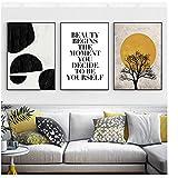 BINGJIACAI Paisaje abstracto Arte de la pared Árbol Sol Desierto Carteles nórdicos Impresiones de imágenes Pintura en lienzo Sala de estar Decoración para el hogar-40x60cmx3 Sin marco