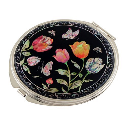 Mother of Pearl Yellow Pink Red Tulip Flower Design Double Compact Magnifying Cosmetic Makeup Handbag Pocket Purse Mirror by Antique Alive