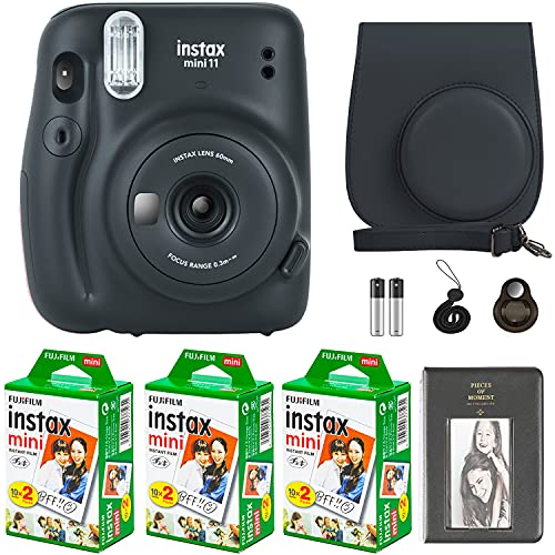 Fujifilm Instax Mini 11 Camera with Fujifilm Instant Mini Film (60 Sheets) Bundle with Deals Number One Accessories Including Carrying Case, Selfie Lens, Photo Album, Stickers (Charcoal Gray)