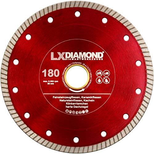 LXDIAMOND Diamant-Trennscheibe 180mm x 30,0mm Premium Diamantscheibe für Fliesen Feinsteinzeug Bodenfliesen Kreamik Natursteinfliesen Klinkerriemchen - extra dünn für exakte Schnitte 180 mm