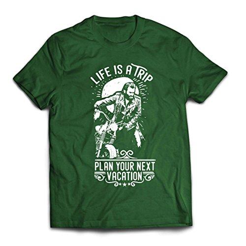 lepni.me Camisetas Hombre la Vida es un Viaje - Ideas de Regalos para Moteros, diseño gráfico de Bicicletas Vintage, amar Las Motocicletas