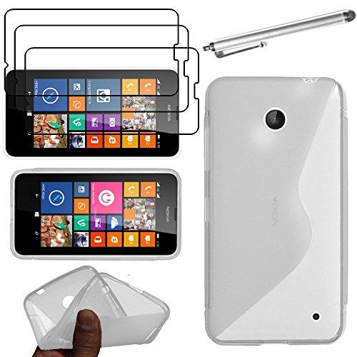 ebestStar - Cover Compatibile con Nokia Lumia 630 Custodia Protezione S-Line Silicone Gel TPU Morbida e Sottile +Penna +3 Pellicole plastica, Trasparente [Apparecchio: 129.5 x 66.7 x 9.2mm, 4.5'']