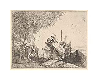 Giovanni Domenico Tiepolo - 20x16 Art Print by Museum Prints - Mary, Helped by Joseph and an Angel, Stepping from a Boat to The Shore, an Angel steadies a Donkey Before her