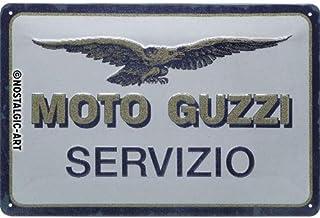 Nostalgic-Art Metalen Retro Bord, Moto Guzzi – Servizio – Geschenkidee voor motorfans, van metaal, Vintage ontwerp voor de...
