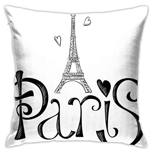 N/Q Polyester Throw Pillow Case Cushion Cover Illustration Eiffel Tower France Sofa Home Decorative (18x18 inch)