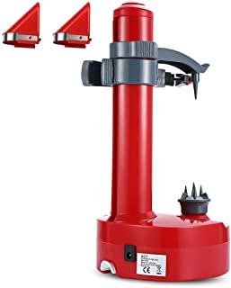 Kizove Multifunctional Electric Automatic Peeler Rotato Express Electric Peeler Automatic Rotating Fruits & Vegetables Cutter Apple Paring Machine with 2 Extra Blades (red)