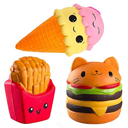 ZhengYue Squishy Kawaii Grandes Baratos Juguete Niños Squeeze Hamburguesa Patatas Fritas Helad Squishy Slow Rising Pack Descompresión Juguetes Compresivos