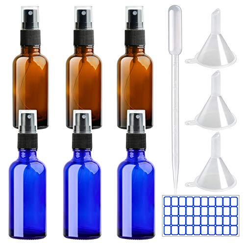 DONQL 6 unidades de botellas pequeñas de cristal ámbar con pulverizador de cristal, 50 ml, para líquido de viaje, cosmética, color azul y marrón