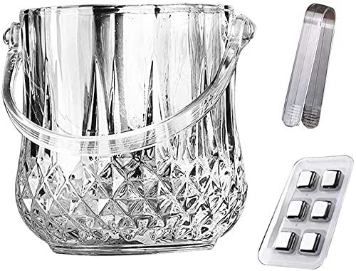 Cubo De Hielo De Vidrio Sin Cristal - Elegante Clásico - Diseño Con Piedras De Hielo De Acero Inoxidable Reutilizables Adecuadas Para Barras,Met clips en ijsblokjes