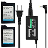 TFSeven 2Pcs High Capacity Rechargeable Lithium Ion Replacement Sony PSP-110 Battery + AC Adapter 5V 2A Wall Travel Power Supply Compatible For PSP 1000 Series Accessories Kit